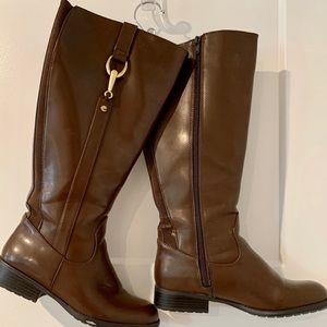 Life Stride Stormy Wide Calf Brown Riding Boots 7